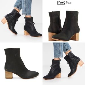 TOMS® Evie Black Leather Boot & Wood Heel ☆Flaw☆